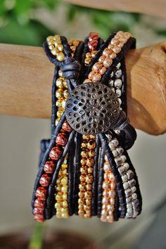 5 METALLIC Wrap Black Leather Bracelet by BraceletsofBlueRidge