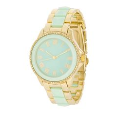 Mint And Gold Metal Crystal Watch
