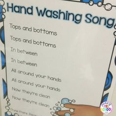 Sing the hand washing as those yucky germs go down the drain to help students remember to wash all the parts of their hands.
