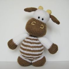 Milkshake the Cow toy knitting pattern - farm animal to knit with this pdf pattern by Amanda Berry at fluff and fuzz