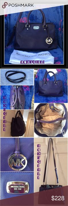 """Michael Kors Leather Satchel in Eggplant Michael Kors Satchel in Eggplant  Buttery soft leather in a deep dark purple with polished silver hardware Great Condition 3 separate sections, The middle section is zippered & The outer sections have a snap lock closure. 4 interior pockets Feet on bottom for protection Includes long adjustable/detachable strap for shoulder/cross-body wear Dust Bag included Has 1 small pen mark inside, see last photo Measures Approx: 13.5"""" L X 9"""" H X 5"""" W ❌NO TRADE❌…"""