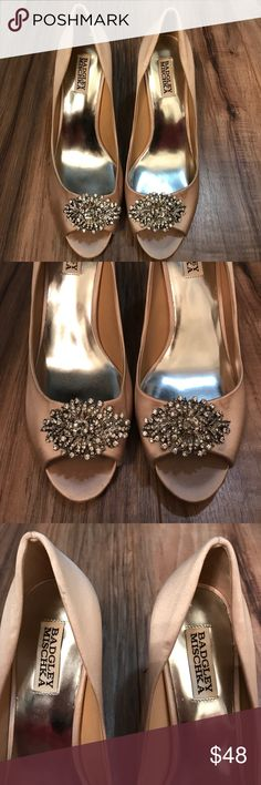 "Badgley Mischka ""Jeanine d' Orsay"" shoes Gently used Pink satin heels with jewel detailing. Badgley Mischka Shoes Heels"
