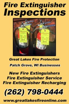 Fire Extinguisher Inspections Patch Grove, WI (262) 798-0444We're Great Lakes Fire Protection.. The Main Source for Fire Protection for Wisconsin Businesses. Call Today!  We would love to hear from you.