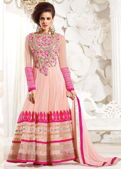Peach Net Abaya Style Salwar Kameez Online Shopping : 538SL05