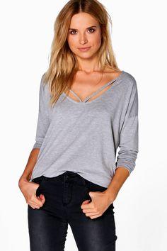 Emily Long Sleeve Strappy Front Oversized Shirt