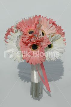 our Modern Peach Coral and Ivory Gerbera Bridal Wedding Bouquet