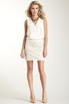 GUESS Blouson V-Neck Dress with Crochet Bottom