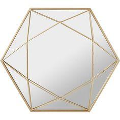 Shinny Miroir hexagonal en métal coloris or h60,5cm