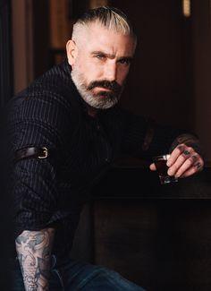 Sheehan & Co. Leather Arm Garters.  Oh you beautiful man.