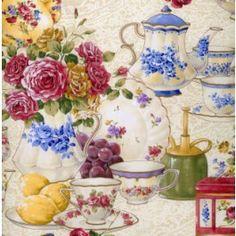 Afternoon Tea Teacups Teapots Quilt Fabric from Sarah J Home Decor