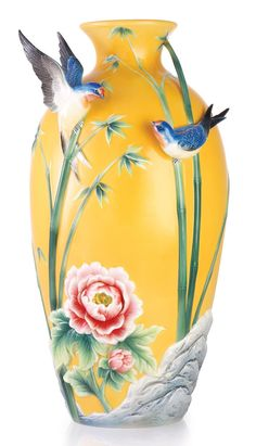 FZ03257 Franz porcelain Peace and blessings bird swallows design large vase NEW