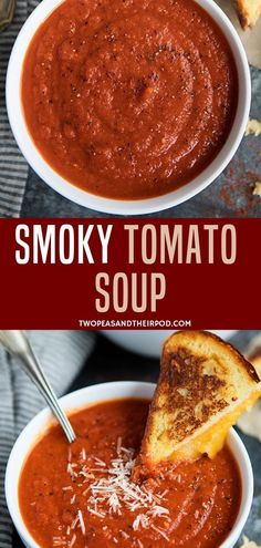 The Combination Of Fire Roasted Tomatoes, Roasted Red Peppers, And Smoked Paprika Kick The Classic Tomato Soup Up A Notch. Serve With A Grilled Cheese Sandwich For The Perfect Comforting Meal! Made with simple ingredients and will be a hit with the entire Best Soup Recipes, Tomato Soup Recipes, Chowder Recipes, Healthy Soup Recipes, Cooking Recipes, Chili Recipes, Tomato Soups, Best Tomato Soup, Tomato Tomato