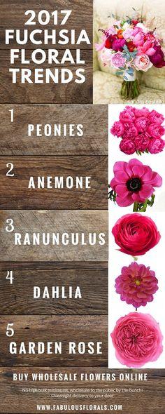 2017 fuchsia wedding flower trends! www.fabulousflorals.com The DIY Bride's #1…