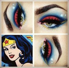 Wonder Woman Makeup Eyeshadow Halloween - make-up is soooo fun! Makeup Geek, Makeup Art, Makeup Eyeshadow, Beauty Makeup, Nerdy Makeup, Eyeshadow Brushes, Eyeshadow Palette, Makeup Ideas, Beauty Tips