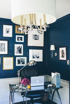 Navy Office with Chrome Details Read More: http://www.stylemepretty.com/living/2014/10/30/traditional-meets-cozy-home-tour-in-long-island/