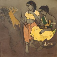Two Friends with a Goat - Painting by Siddharth Shingade