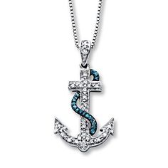 ed59d0243 This blue and white diamond anchor necklace goes great with jeans and a  tank or a