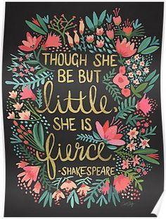Little & Fierce on Charcoal Poster