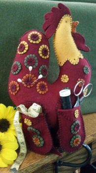 Doodle Doo, The Rooster Sewing Bird Wool Applique Pin Keep
