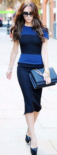 Victoria Beckham O-Neck Knee-Length Sheath Dress