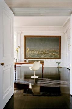 :: Havens South Designs ::  loves this composition - a formal setting with a wood plank ceiling and paneled transition.