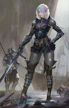 armor belt blue eyes bodysuit breasts cleavage cleavage cutout contrapposto elf full body gluteal fold hand on hip helmet high heels highres horse looking at viewer magician (china) medium hair multiple boys original pale skin pauldrons pointy Dnd Characters, Fantasy Characters, Female Characters, Female Character Design, Character Concept, Character Art, Female Elf, Female Knight, Fantasy Armor
