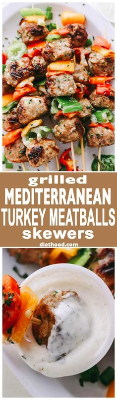 Grilled Mediterranean Turkey Meatballs Skewers – Juicy grilled turkey meatballs stuffed with olives and feta! Makes a delicious dinner, but are also great served as an appetizer, too!