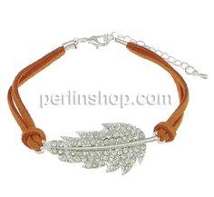 Wollschnur Armband, mit Zinklegierung, mit Verlängerungskettchen von 2Inch, Blatt, silberfarben plattiert, mit Strass & 2 strängig, andere, ...