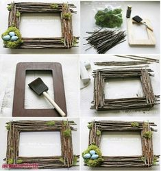 Frame construction from tiny branches Twig Crafts, Driftwood Crafts, Frame Crafts, Nature Crafts, Diy Home Crafts, Diy Frame, Crafts For Kids, Paper Crafts, Cadre Photo Diy