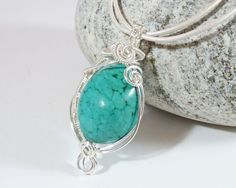 Wire Wrapped Pendant Turquoise Gemstone by BeauBellaJewellery