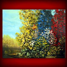 palette knife textured tree painting impasto abstract  by mattsart, $200.00