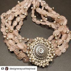Repost with ・・・ The 'Dadarmoti' Choker Set I must say I am really enjoying bringing these beautiful… Bridal Jewelry, Gemstone Jewelry, Beaded Jewelry, Handmade Jewelry, Flower Jewelry, Silver Jewellery, Indian Jewelry Sets, Silver Choker, Latest Jewellery
