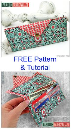 Fabulous Fabric Wallet has two bill/note pockets, six card pockets & a zippered coin pocket. This is one of the loveliest Wallets that we have ever seen on our Sew Modern Bags website. And as a huge bonus, the pattern is FREE and there is a FREE tutorial. Easy Sewing Projects, Sewing Hacks, Sewing Tutorials, Sewing Crafts, Sewing Tips, Bags Sewing, Bag Patterns To Sew, Sewing Patterns Free, Free Sewing