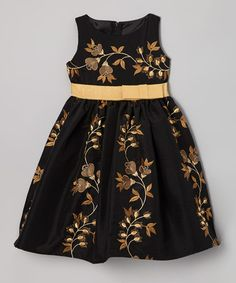 Take a look at this Black Spanish Dupioni Dress - Toddler & Girls by Fancy Frocks: Girls' Dresses on @zulily today!