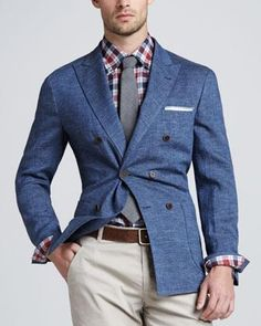 Brunello Cucinelli Double-Breasted Linen Jacket - Neiman Marcus