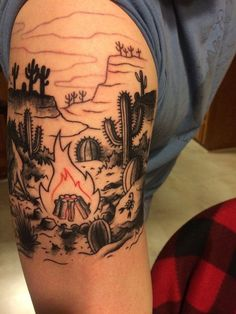 Desert Campfire (first session) Derick Dove, Double Deuce Tattoo, Cary, NC