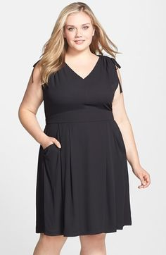 Sejour Tie Shoulder Fit & Flare Dress (Plus Size) available at #Nordstrom
