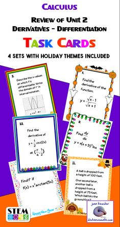 Calculus Unit 2 Derivative and Differentiation Review with Fun Multi - Holiday Themes. There are four sets of cards, three themes plus a set of generic cards.  Review for Unit 2 Test or anytime to keep the kids on their toes!