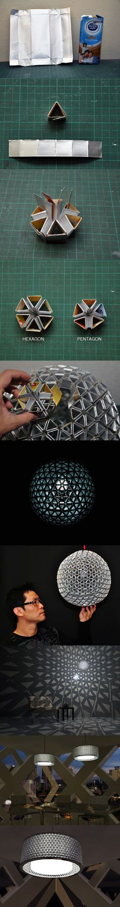 Cool lamps made out of recycled packaging