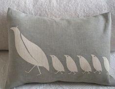 Handprinted pillows by helkatdesign - cute for a nursery