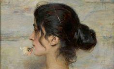 """Ettore Tito, 1859-1941 - """"Con una rosa entre los labios"""", 1895"""
