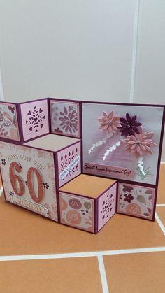 Heute möchte ich Euch noch Grußkarten und eine Verpackung zeigen, die im vergangenen Monat entstanden sind. Zuerst seht Ihr eine Pop-up-Karte zum 60. Gebur