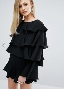 20 Budget-Friendly Black Ruffle Tops – Wear Black | Drink Champagne  ASOS – Sister Jane Layer Ruffle Long Sleeve Top – $53