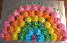 Rainbow Cupcake Cake- This is what I did for Olivia's 5th Birthday cake, and it was pretty cute!