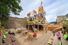 MVMNT Café by Morag Myerscough,  a temporary pop-up Café, which is part of the redevelopment of the Greenwich industrial estate in London Pop Up Cafe, Corporate Design, Retail Design, Event Design, Container Cafe, Greenwich Park, Lombok, Mini Bars, Neon Design