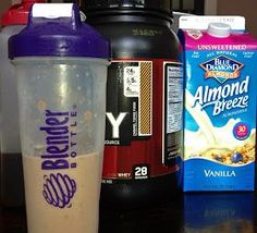 Coffee protein shake recipe. You will need: 1-2 scoops of your favorite protein 1/2 cup almond milk 1/2 cup coffee (more or less depending on what consistency you like)  What to do: Place ingredients into a blender bottle, shake, and enjoy.  Optional To make this a yummy cold treat, add a few ice cubes and throw into a blender until smooth.