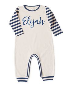 4373b1208 Ivory   Blue Stripe Personalized Playsuit - Infant Playsuits