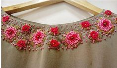 Zardosi Embroidery, Embroidery On Kurtis, Kurti Embroidery Design, Rose Embroidery, Hand Embroidery Stitches, Embroidery Fashion, Simple Anarkali, Simple Embroidery Designs, Churidar Designs