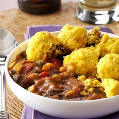 Corn Bread-Topped Chicken Chili Recipe from Taste of Home  #slow_cooker   #crockpot