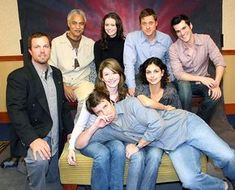 (From left to right, top to bottom) Adam Baldwin, Ron Glass, Summer Glau, Alan Tudyk, Sean Maher, Jewel Staite, Morena Baccarin, and Nathan Fillion